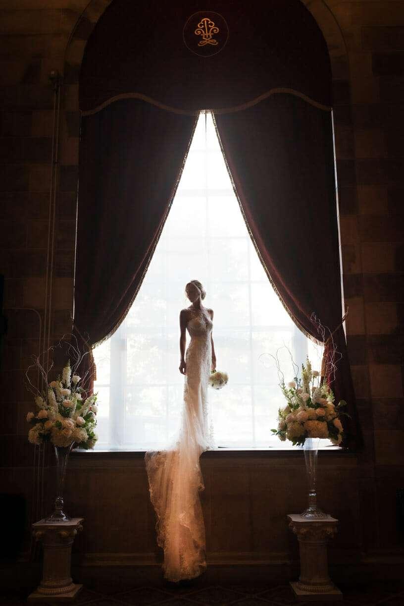 Dramatic Bridal Portrait at The Society Room of Hartford